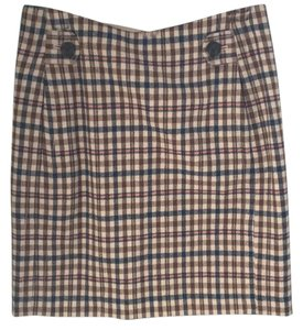 Banana Republic Skirt Plaid (brown, blue, orange, mustard yellow)