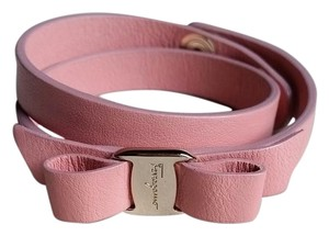 Salvatore Ferragamo *New with Tags* Vara Bow Double Wrap Leather Bracelet in Pink