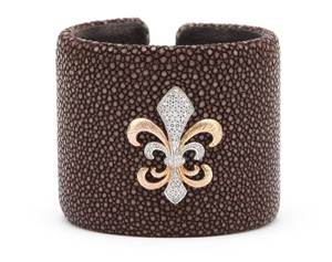 Linda Bernell Linda Bernell Brown Stingray Cuff Gold Diamonds Fleur De Lis Bracelet