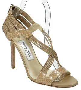 Jimmy Choo Snake 38 Crisscross Strap Nude Sandals