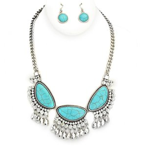 Burnish Silver Turquoise Crystal Accent Necklace and Earring
