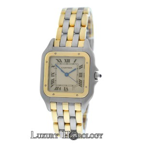 Cartier Mint Ladies Midsize 26MM Cartier Panthere Three Row 18K Gold Date