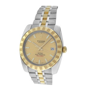 Tudor Unworn Authentic Men's Tudor Rotor 21013 Steel 18K Gold Date