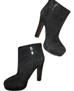 BCBGMAXAZRIA Suede Zipper Leather Black Boots