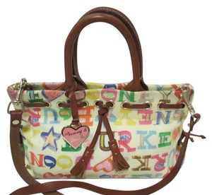 Dooney & Bourke Strap Leather Trim Coated Canvas Satchel in White with Multicolor DB