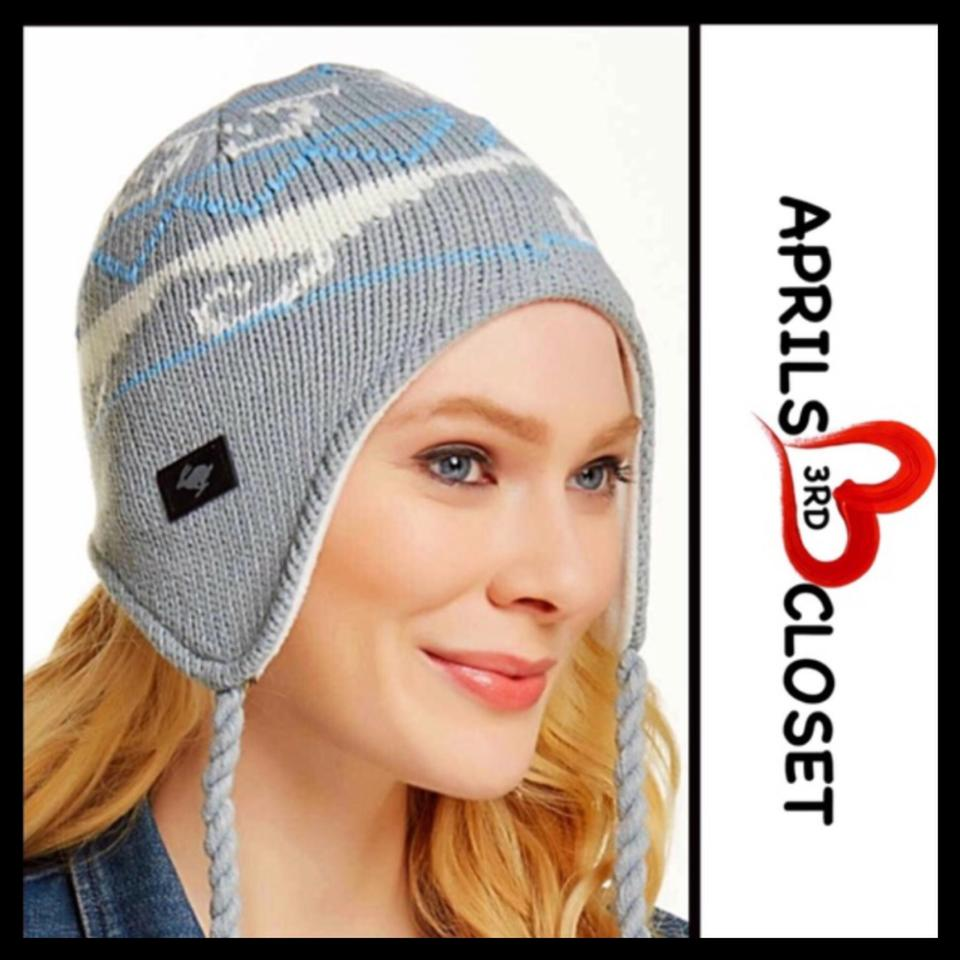 1c1d48c97 Peter Grimm Grey Blue Ivory Luxe Cozy Lined Nordic Tassel Trapper Beanie Hat
