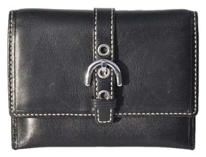 Coach Coach Black Leather Smaller Credit Card/Bill Wallet