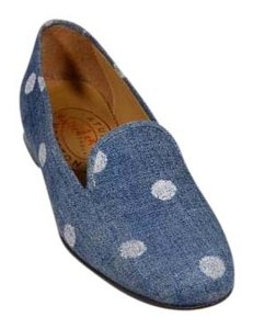 Stubbs & Wootton Polka Dots Limited Edition Loafers Slippers Blue Flats