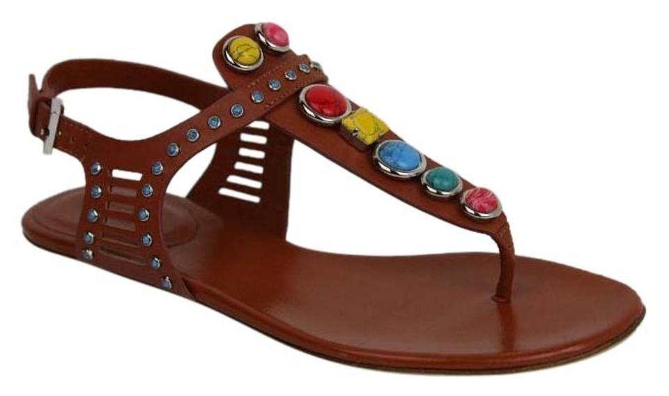 f5d6e241dbc019 Gucci Multi-color Embroidered Leather Flat W Gems It 34.5 Us 4.5 ...