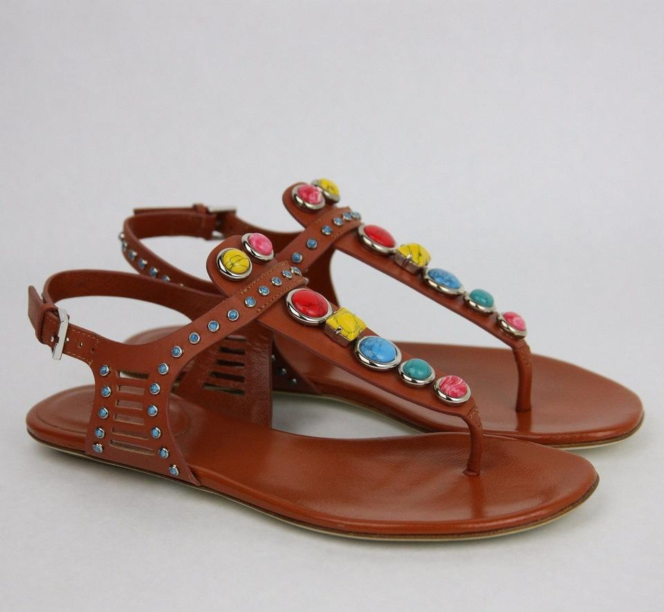 31491285af6bfb Gucci Multi-color Embroidered Leather Flat W Gems It 34.5 Us 4.5 374740  6336 Sandals