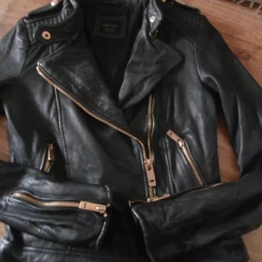 50%OFF Zara As Seen On Gigi Hadid Black With Gold Hardware Leather ...