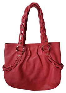 Elaine Turner Leather Tote in Coral