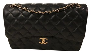 Chanel Lambskin Gold Hardware Classic Jumbo Shoulder Bag