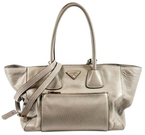 Prada Vitello Phenix Pomice Tote in Pomice Grey