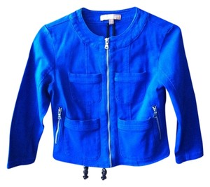 Ellen Tracy Blue Zipper Longsleeve Royal blue Womens Jean Jacket