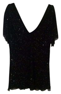 Adrianna Papell Hand Done Beadwork Sequin Top Black