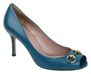 Gucci Women's Leather Horsebit Blue Pumps