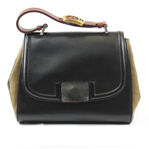 Fendi Silvana Stripe Canvas Satchel in Black and Brown