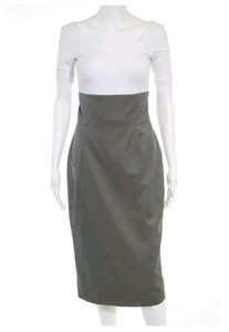 Brioni Madmen Vintage Pencil High Waisted Skirt Gray Taupe