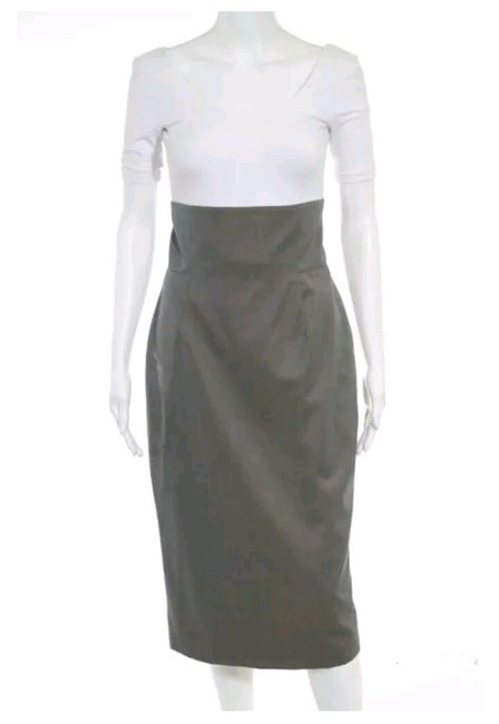 """Item - Gray Taupe 1950's """"Madmen"""" Style High Waisted Pencil Skirt Size 4 (S, 27)"""