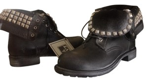 Frye Leather Rogan Studded Combat/biker Black Boots