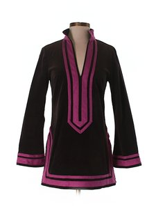 Tory Burch Color-blocking Notch Longsleeve Velvet Tunic