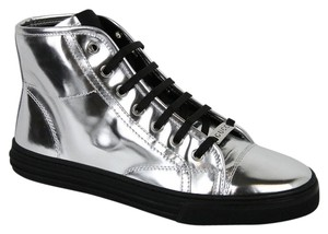 Gucci Women's Patent Leather Silver Flats