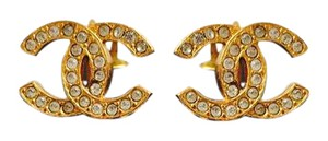 Chanel Authentic Chanel CC Gold Clip-on Earrings with Rhinestones + Box