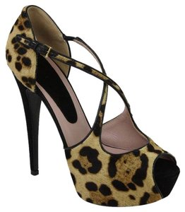 Gucci Leopard Print Pony Hair Brown Sandals