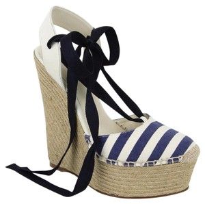 Gucci Canvas White Blue Wedges