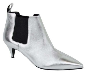 Gucci Leather Ankle Silver Boots