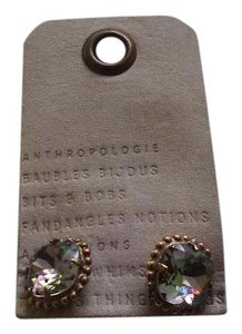 Anthropologie Anthropologie Brass & Green Crystal Earrings for pierced ears NWT