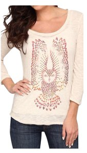 Lucky Brand Embellished T Shirt Beige