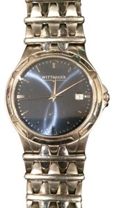 TNA Mens Silvertone Witnauer Timepiece/Black Face, Striking!!
