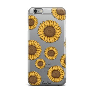 Case Yard NEW Clear Plastic IPhone Case with Sunflower Design, Size 7