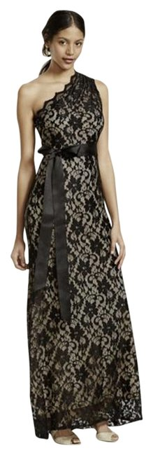 Item - Black Lace Overlay/ Nude Betsy - and Adam Long Formal Dress Size 10 (M)