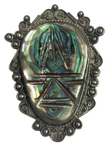 Other Antique Abalone Shell Hand Carved Pin Brooch- Sterling Silver