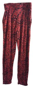 ASOS Joggers Print Floral Athletic Pants Red/Black