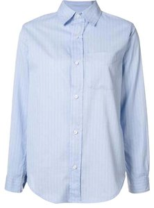Current/Elliott Button Down Shirt blue cambridge stripe