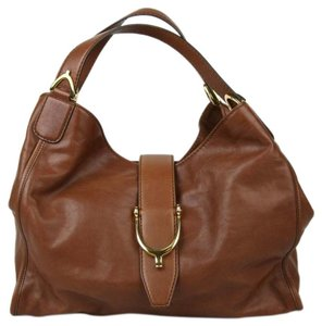 Gucci Marrone Washed Soft Leather Hobo Bag
