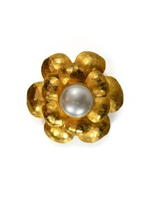 Chanel Chanel Hammered Goldtone & Pearl Flower Brooch Pin