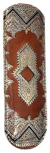 FLORENTINE 1960'S GOLD EMBOSSED BROWN LEATHER TORTISE COMB & CASE
