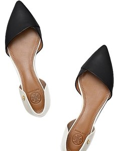 Tory Burch Leather New Neutral Slip On Black/Cream Flats