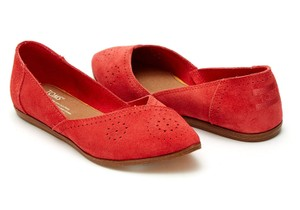 TOMS Jutti Suede Perforated Cayenne Flats