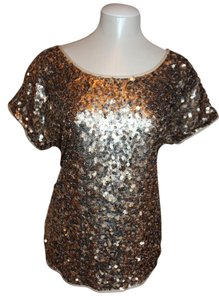 INC International Concepts Sequins Evening Top GOLD
