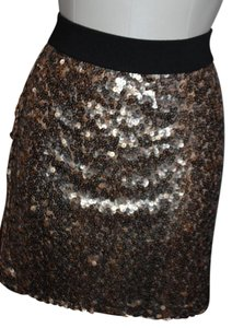 INC International Concepts Mini Mini Skirt GOLD SEQUINS
