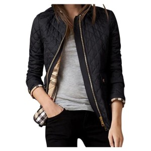 Burberry Black Quilted With Nova Check Lining Jacket