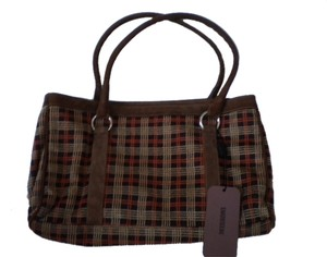 Missoni Suede Plaid Satchel in Brown