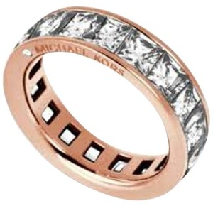 Michael Kors Park Ave Rose Goldtone Princess Cut Crystals Eternity Ring MKJ4752
