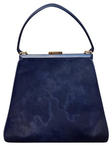 Gucci Vintage Satchel in Navy Pony